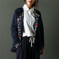 2017 Autumn Loose Women Shirt Cotton Cardigan Folk Style Jacquard Long Sleeve Roupas Femininas Dyeing Chinese