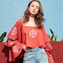 Artka 2019 Spring Women Flare Sleeve Shirt Square Collar Design Embroidered Floral Loose Casual Short Blouse Lady Tops SA10991X цена