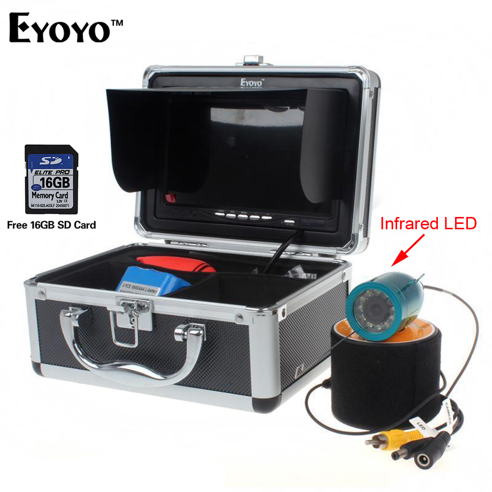 EYOYO Fish Finder DVR Record 30M 7 LCD Underwater Camera Video Camera for Fishing Cam 12Pcs Infrared IR LED with 16GB SD Card 30m video