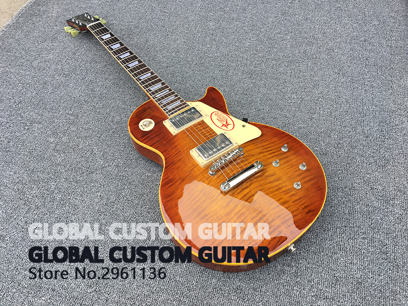in stock High quality Wholesale Custom shop 1959 R9 Tiger Flame electric guitar Standard LP 59 electric guitar HOT!free shipping  free delivery high quality custom store electric guitar silver hardware ebony lp guitar wholesale and retail real photos