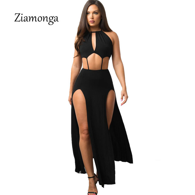 Ziamonga Women Backless Dress Sexy Club High Split Dress Sleeveless