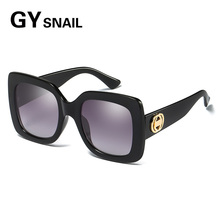 GYsnail Brand Design Women retro square oversize Sunglasses Female Sun Glasses Retro Style Shades Oculos Feminino black