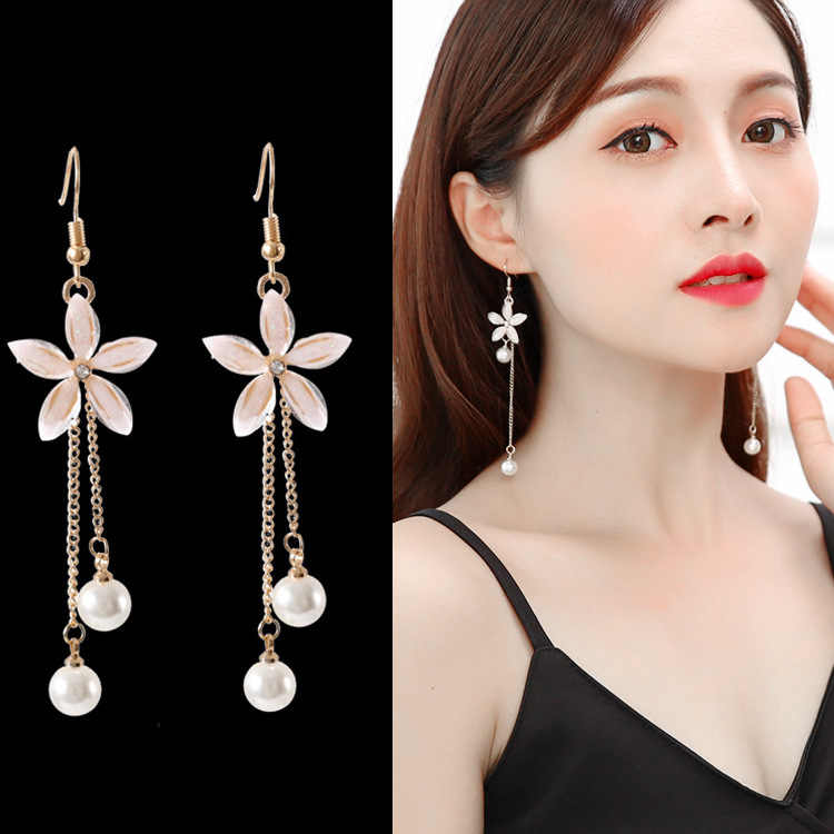 2019 personalized pearl eardrop flower simple joker pendant long earrings female birthday gift