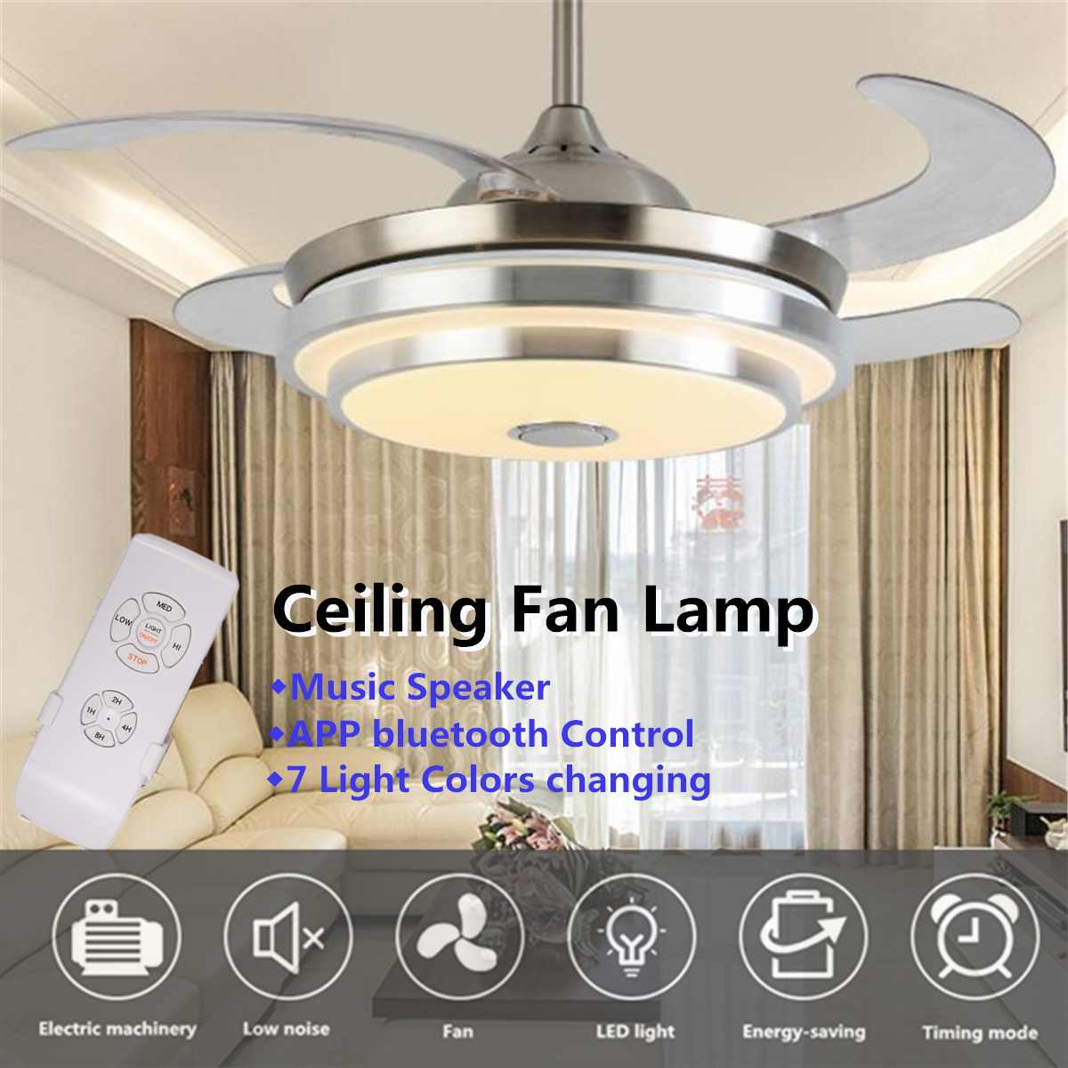 Modern Led Ceiling Fan With Light Folding Lamp Dining