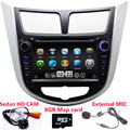 2 Din Carro DVD Player Para Hyundai Verna accent Solaris Com rádio Navegação GPS Bluetooth TV Ipod 3G/WIFI USB Host Mapa Livre
