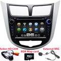 2 Din Dvd-плеер Автомобиля Для Hyundai Verna accent Solaris С радио Навигации GPS Bluetooth ТВ Ipod 3 Г/WIFI USB Host Бесплатную Карту