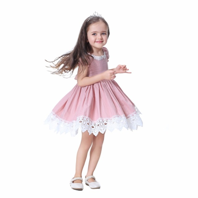 Toddler Girl Dress Solid Pink Lace Wedding Party Dress 2018 Brand Summer Princess Dresses Clothes Size 1-8 vestido infantil