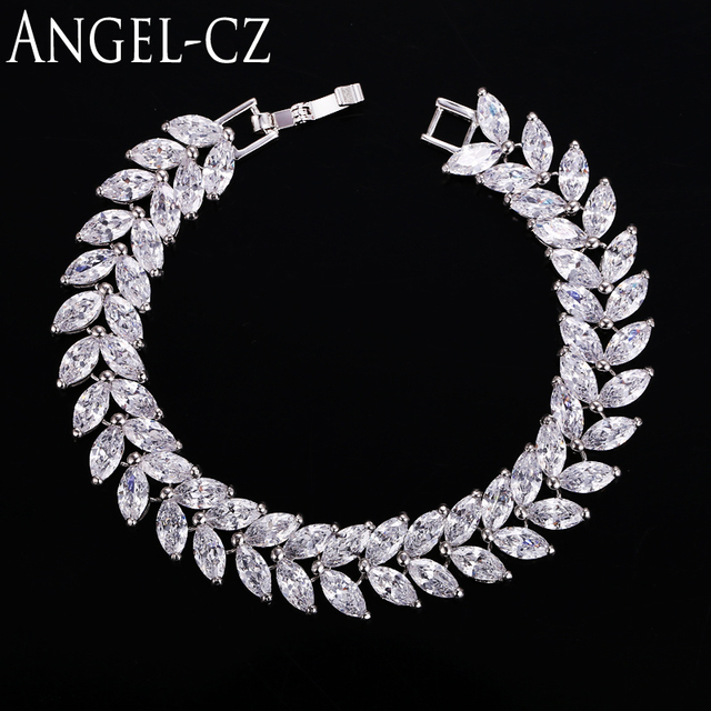 ANGELCZ Fashion Wheat Design Luxury Marquise Cut Austrian Crystal Silver Tennis Bracelet Jewelry For Women Wedding Party AB008