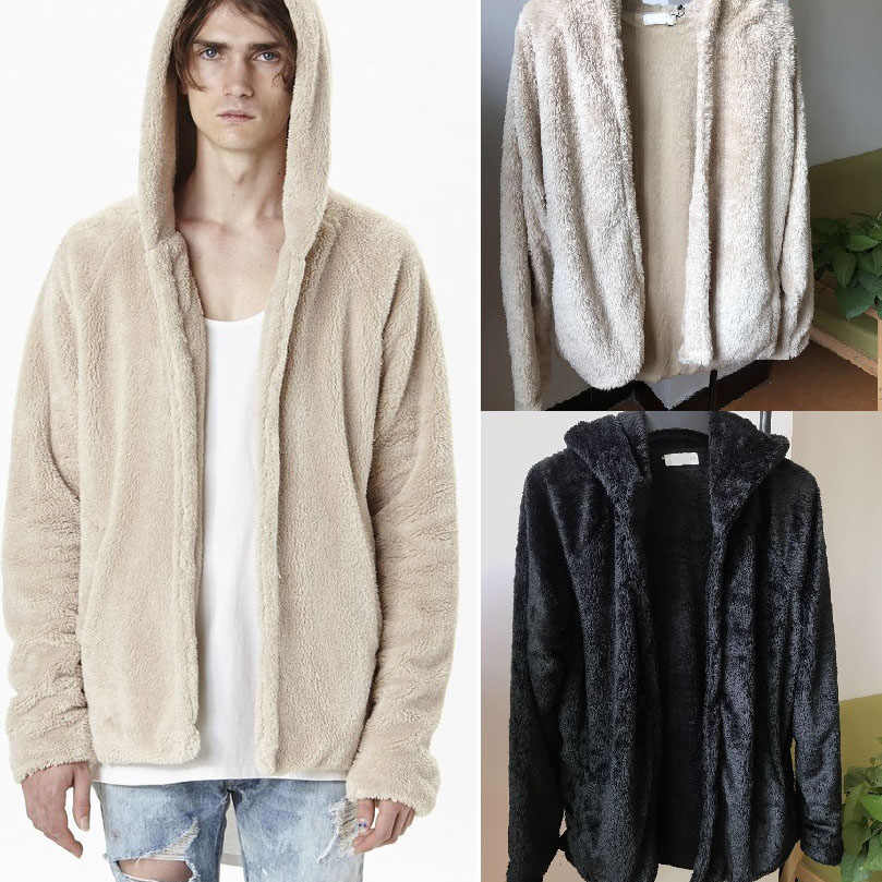 e6455462b Mens Sherpa Hoodie Kanye West Hip-Hop Fleece Urban Clothing Justin Bieber  Tyga US Streetwear