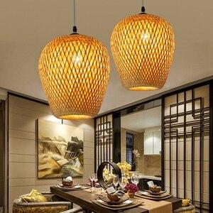 Modern Bamboo Work Hand Knitted Bamboo Weaving Chandelier Restaurant Handmade Bamboo Lantern Chandelier Hotel Inn Restaurant D