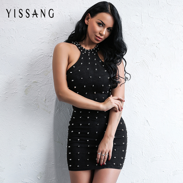 Yissang 2017 Fashionable Suede Sleeveless Slim Bodycon Sexy Studded Rivet Dress  Women Night Club Midi Bodycon bcfb9dad1ea1