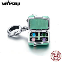 WOSTU Hot Sale 925 Sterling Silver Macaron Candy Box Dangle Charm fit Beads Bracelet Necklace For Women DIY Jewelry CQC663(China)