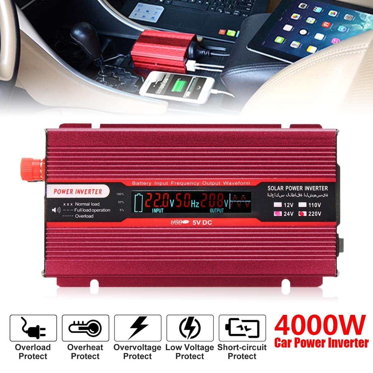 PEAK 4000W Car Power Inverter 12/24V To AC 220/110V USB Modified Sine Wave Converter Low Noise Voltage Transformer Red Aluminum