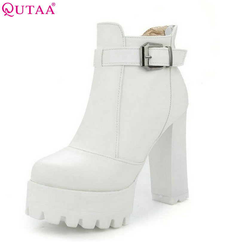 QUTAA White 2017 Fashion PU Leather Women Shoes Square High Heel Ankle Boots Buckle Women Motorcycle