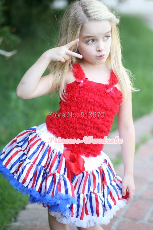 4th July America Flag Style Stripe Pettiskirt Hot Red Ruffle Top 2PC set 1-8Y MAMG1141 red black 8 layered pettiskirt red sparkle number ruffle red bow tank top mamg575