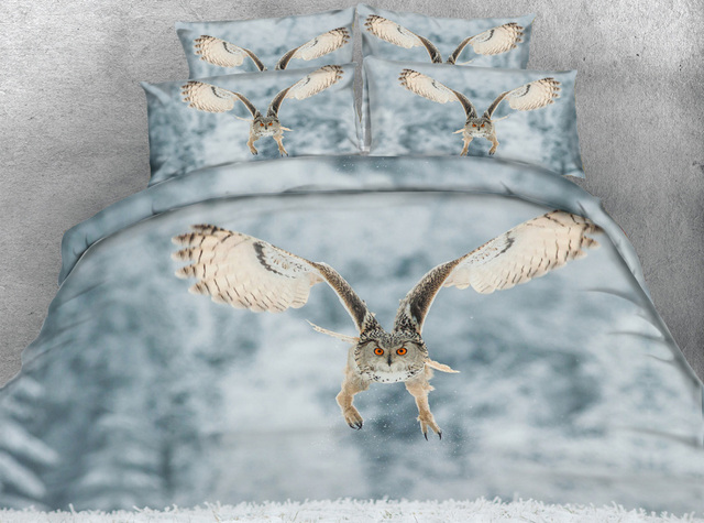 JF 031 Flying OWL Unique Bedroom Set 4pcs 3D Queen Full Size Bedding Kids  Single