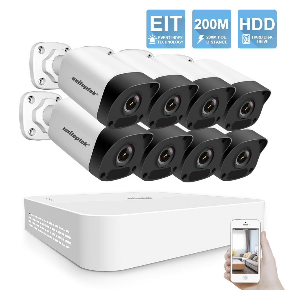 New 4MP 8CH POE NVR Kit CCTV Camera System H.265 HD 4MP Security IP Camera 200M POE Distance 52V Video Surveillance System Set