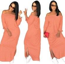 2019 Fashion Women Off Shoulder Slash Neck Dresses Spring Split Side Loose Maxi Party Dress Vestidos
