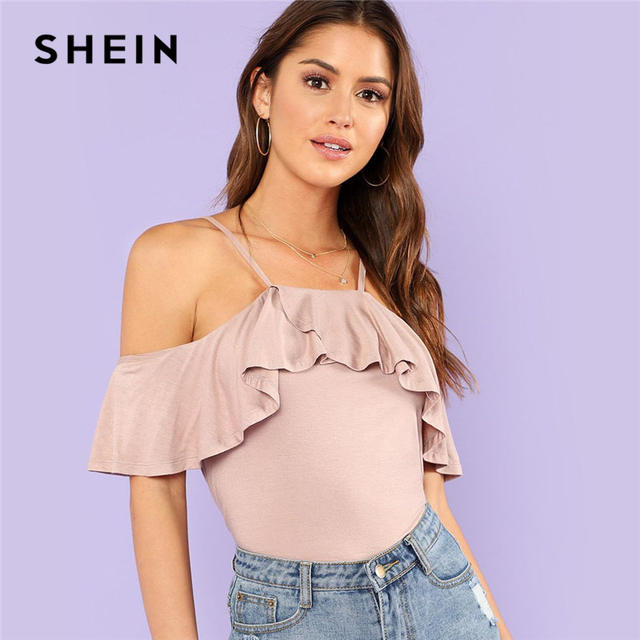 50326958 SHEIN Pink Cold Shoulder Flounce Slim Tee Women Spaghetti Strap Cold  Shoulder Ruffle Plain T-shirt 2018 Summer Sexy Top Tee