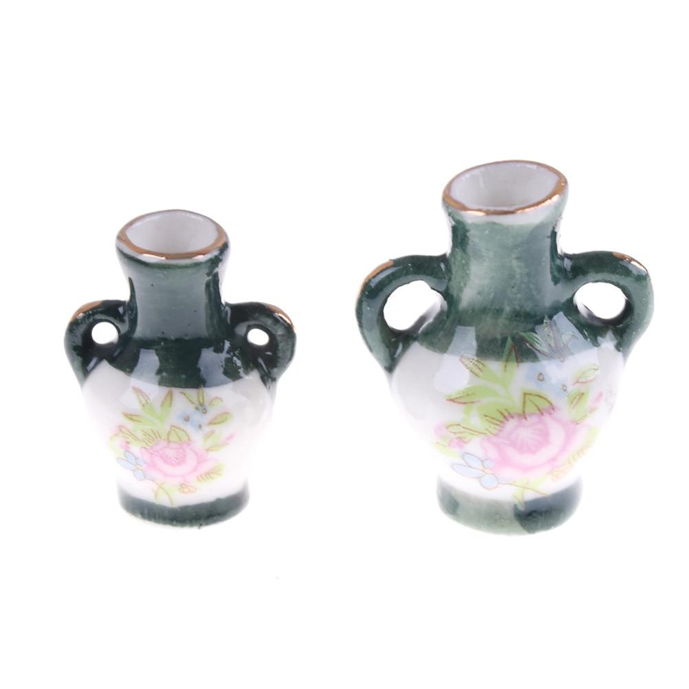 Newest 2pcs Mini Doll House Mini Art Decorations Graduation Beautifully Designed Ceramic Vase