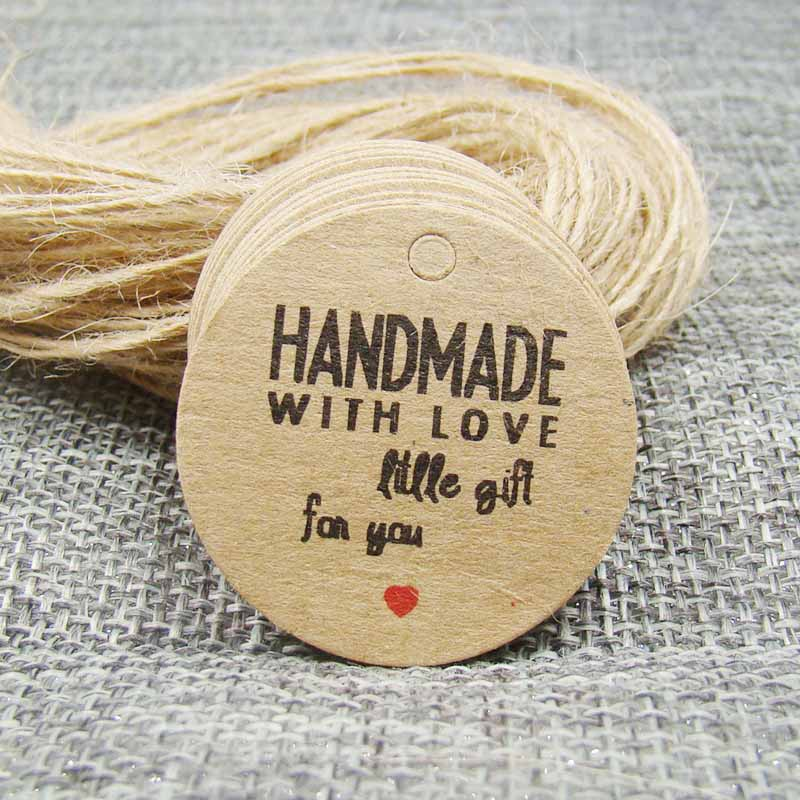 3*3cm 50PCS handmade with love gift hang tag brown color +50pcs hemp string for your products tagging decoration /gift label tag