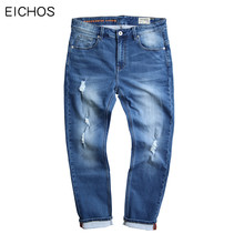 EICHOS Spring Summer Classic Jeans Men Fashion Hole Knitting Ripped Jeans Slim Light Blue Stretch Mens Jeans Large Size 30-52