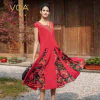 VOA 2018 Весна Лето Новый Винтажный китайский стиль вышивка принт Тонкий платье Красный тяжелый шелк плюс размер женское платье миди A7578