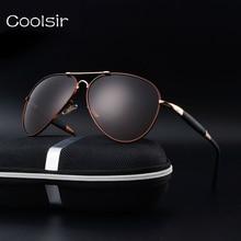 New 2017 coolsir marca diseñador polarized aviator gafas de sol hombres marco de metal de moda retro de conducción de viaje gafas de sol hombre