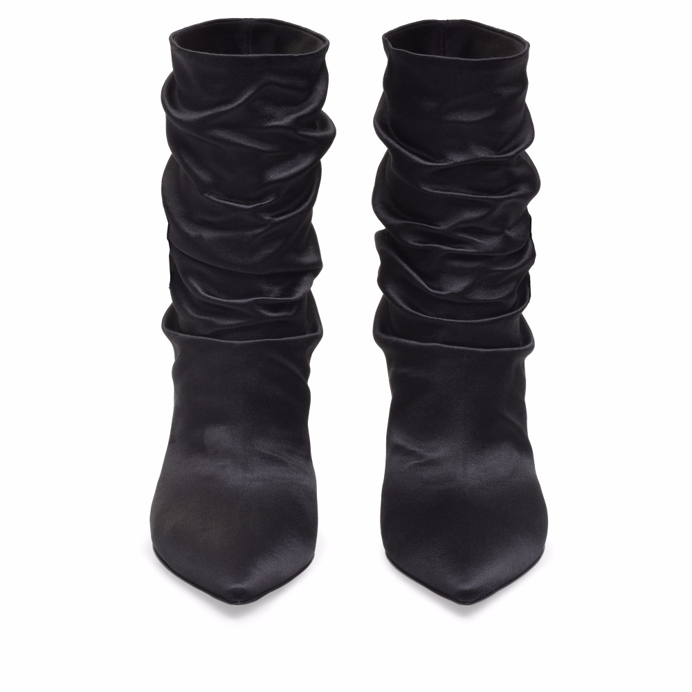 78327e1a68f ... Women high heel slouch boots black satin ankle booties pointed toe  stylish short boots (2 ...