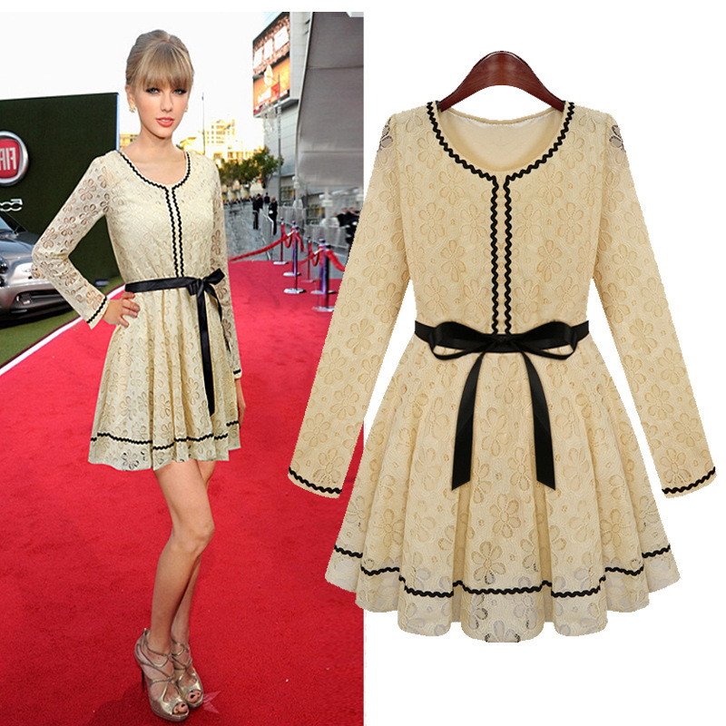 18b27cbd0d6 New Spring Women Dresses Beige Lace Rose Needlepoint Dresses With Black  Ribbon Belt Women European Fashion Style Dresses