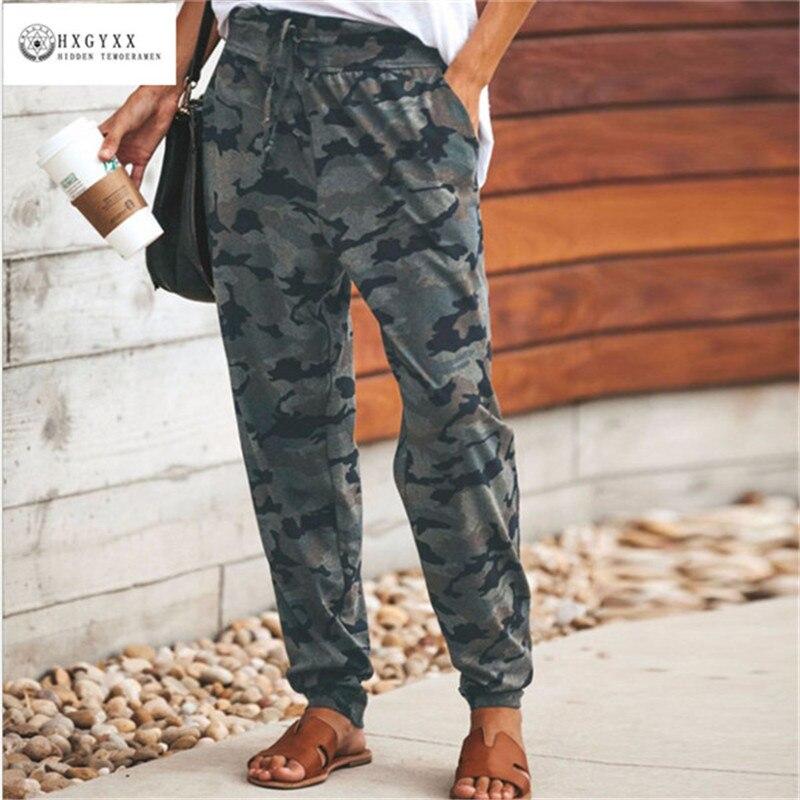 2019 de Cintura Alta Calças de Camuflagem Moda Feminina Pantalon Femme Calças Plus Size 3XL B036 Sweatpants Streetwear Camo Calças Feminino