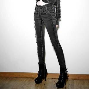 EVA LADY Style Casual Jeans Pants Women Black Long Trousers 880fc2b4b1ca