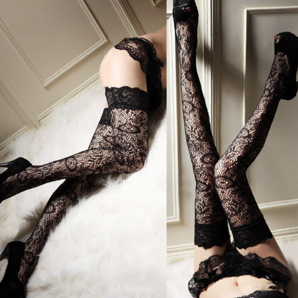 Women Lady Trendy Sexy Sheer Lace Thigh High Leggings Black Leggings
