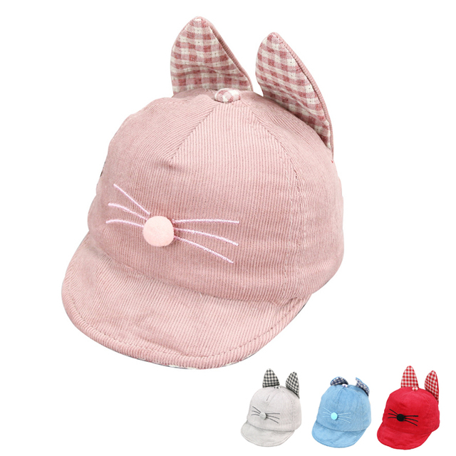 Thick Baby Cap Cat Pattern Autumn Hat Cute Cotton Hat For Girls Plaid Ears Toddler  Baseball 9de128239