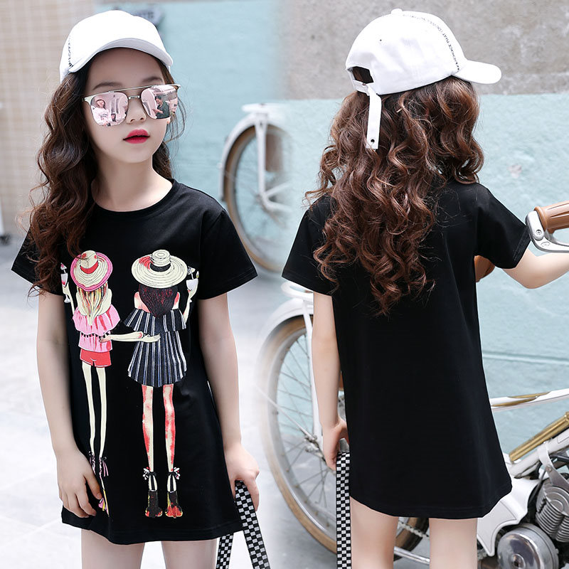 1 pc Children 39 s Clothes T shirt Girl 39 s Short Sleeves Cotton Casual Summer T Shirt Tops Cartoon Tee Shirt Dress High Quality in Dresses from Mother amp Kids