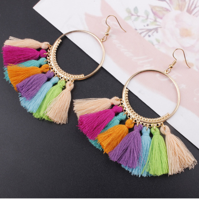 LZHLQ Tassel Earrings For Women Ethnic Big Drop Earrings Bohemia Fashion Jewelry Trendy Cotton Rope Fringe Long Dangle Earrings 1