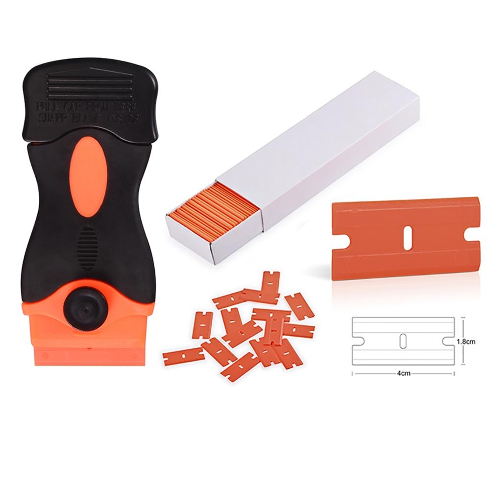 EHDIS 100pcs Plastic Razor Blades Car Glue Sticker Remove Razor Scraper Car Vinyl Wrap Film Squeegee Household Cleaning Tools цена