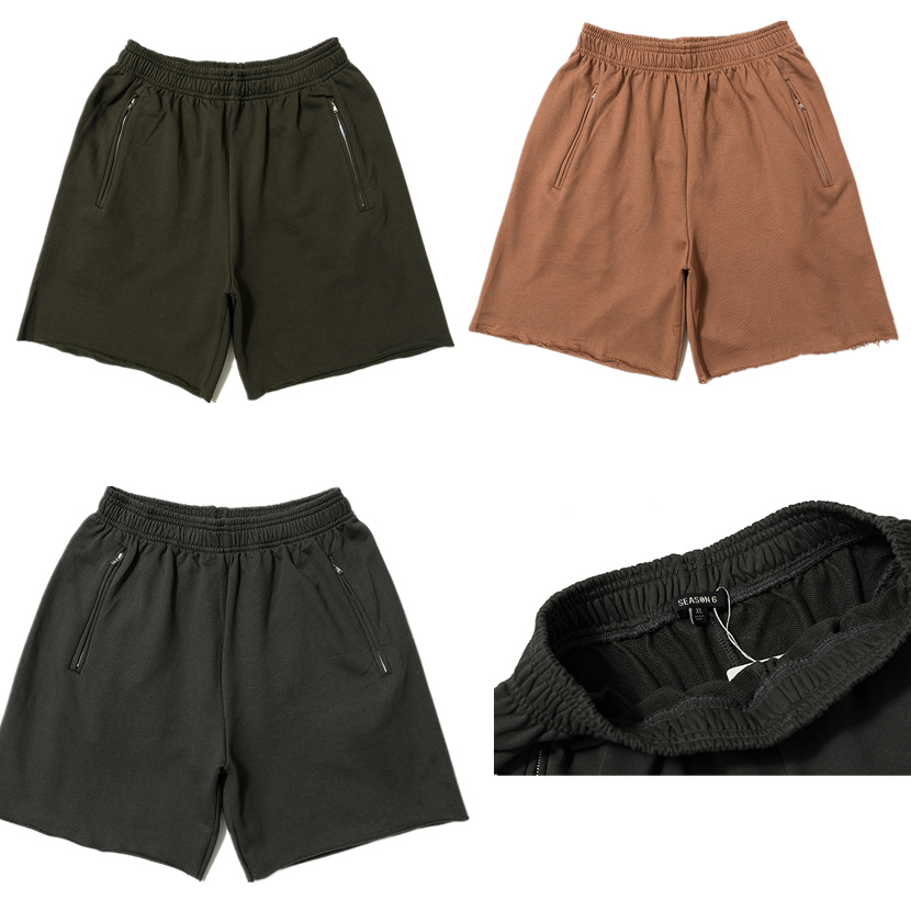 2019 Season 6 Solid Color Summer Kanye West Men Shorts Streetwear Men Cotton Casual Shorts Calabasas