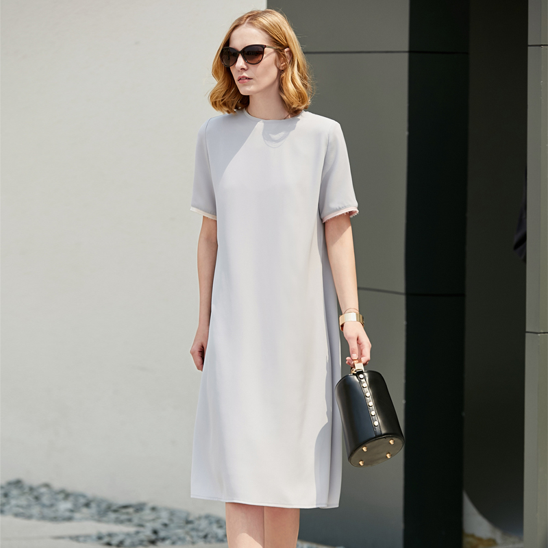 95654d4cb3de7 Amii Women Minimalist 2018 Summer Dress Office Lady Straight Double Layer  Chiffon Contrast Color Female Dresses