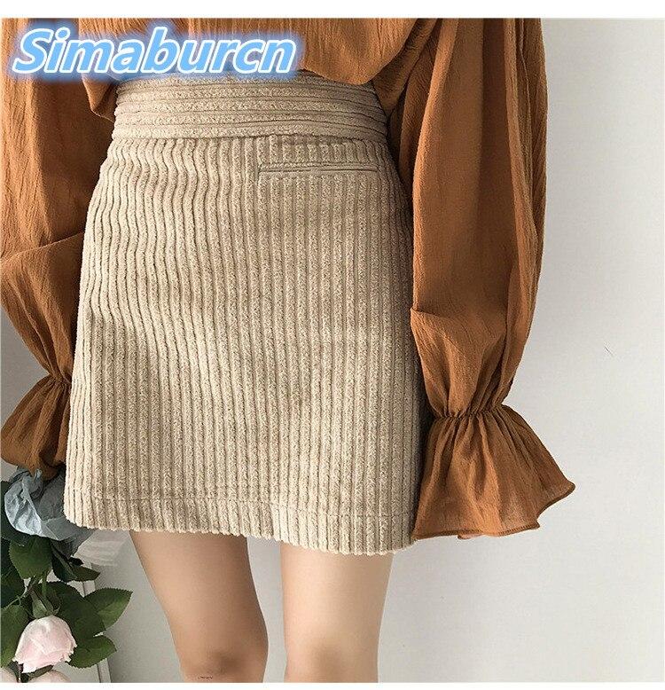 Casual Women Mini A Line Corduroy Skirts Slim High Waist -4902