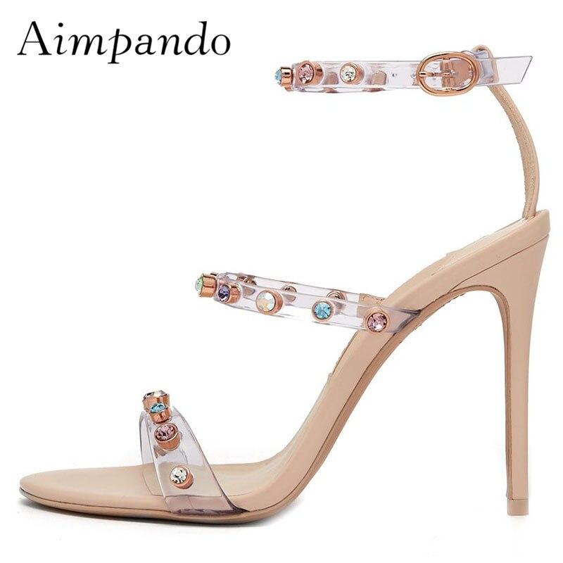 2019 Sexy Gladiator Sandals Woman Open Toe Mixed Color Rhinestone Rivet High Heel Shoes Women Fashion