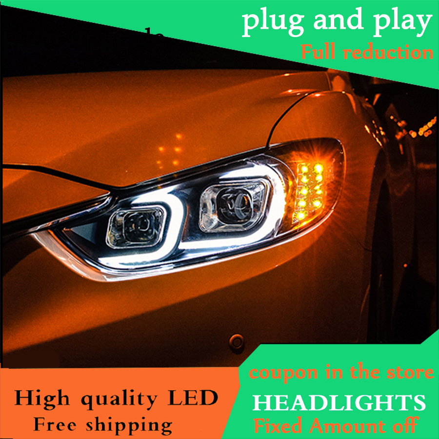 Car Styling Head Lamp For Mazda 6 Atenza Headlights 2014 2016 LED Headlight Double C Angel