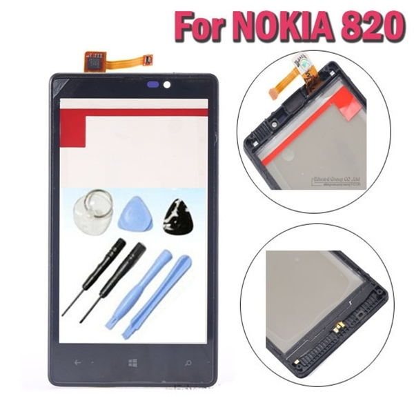 Lumia 820 original reemplazo touch pantalla digitalizador con marco para nokia lumia 820 n820 lcd sensor de cristal ventana de la cubierta + herramientas
