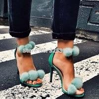 Turquoise Fur Decor Sandals Open Toe Ladies Pom Pom Gladiator Fur Sandal Sexy High Heels Ankle Strap Women Shoes Cute Pumps