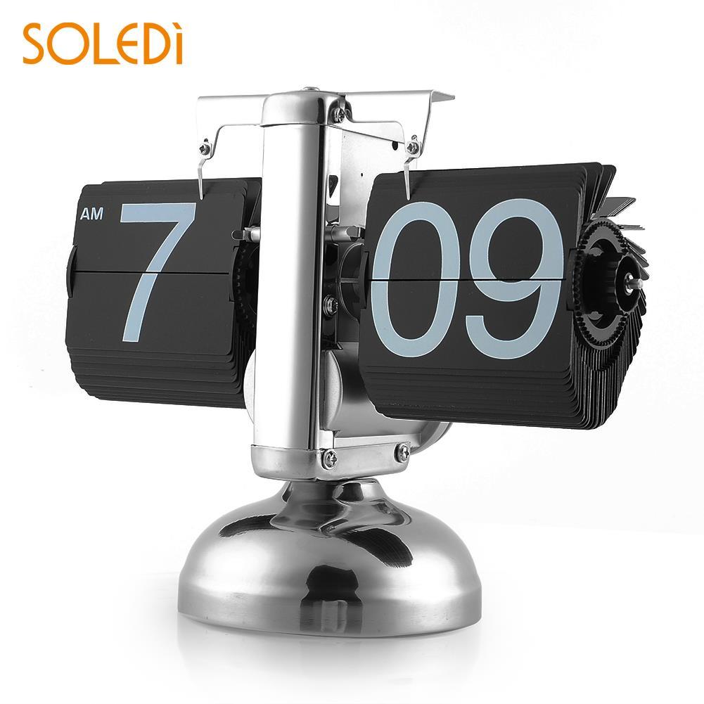 Rétro bureau horloge Gear Auto Flip horloge simple support moderne Table décor à la maison chaud
