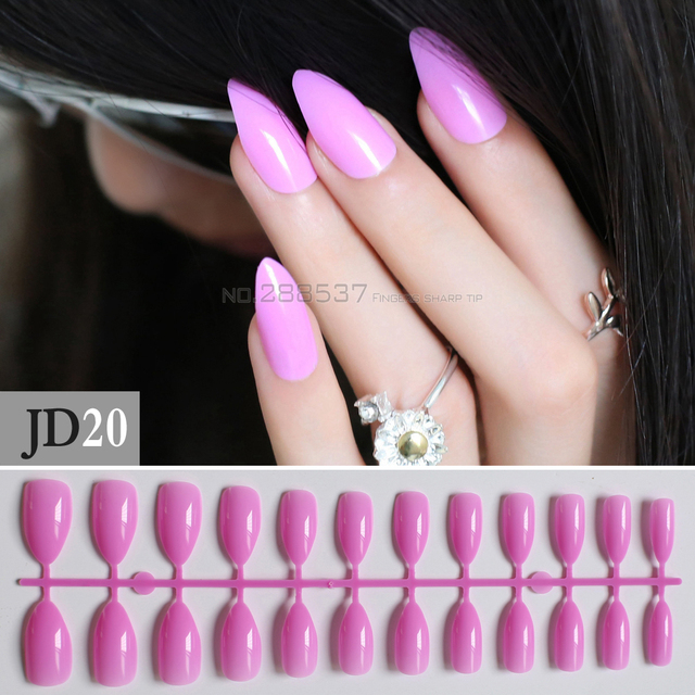 Pink Purple Full Nail Tips Comfortable Artificial nail Pointed Stiletto  24pcs mountain peak Designs Pure colour - Pink Purple Full Nail Tips Comfortable Artificial Nail Pointed