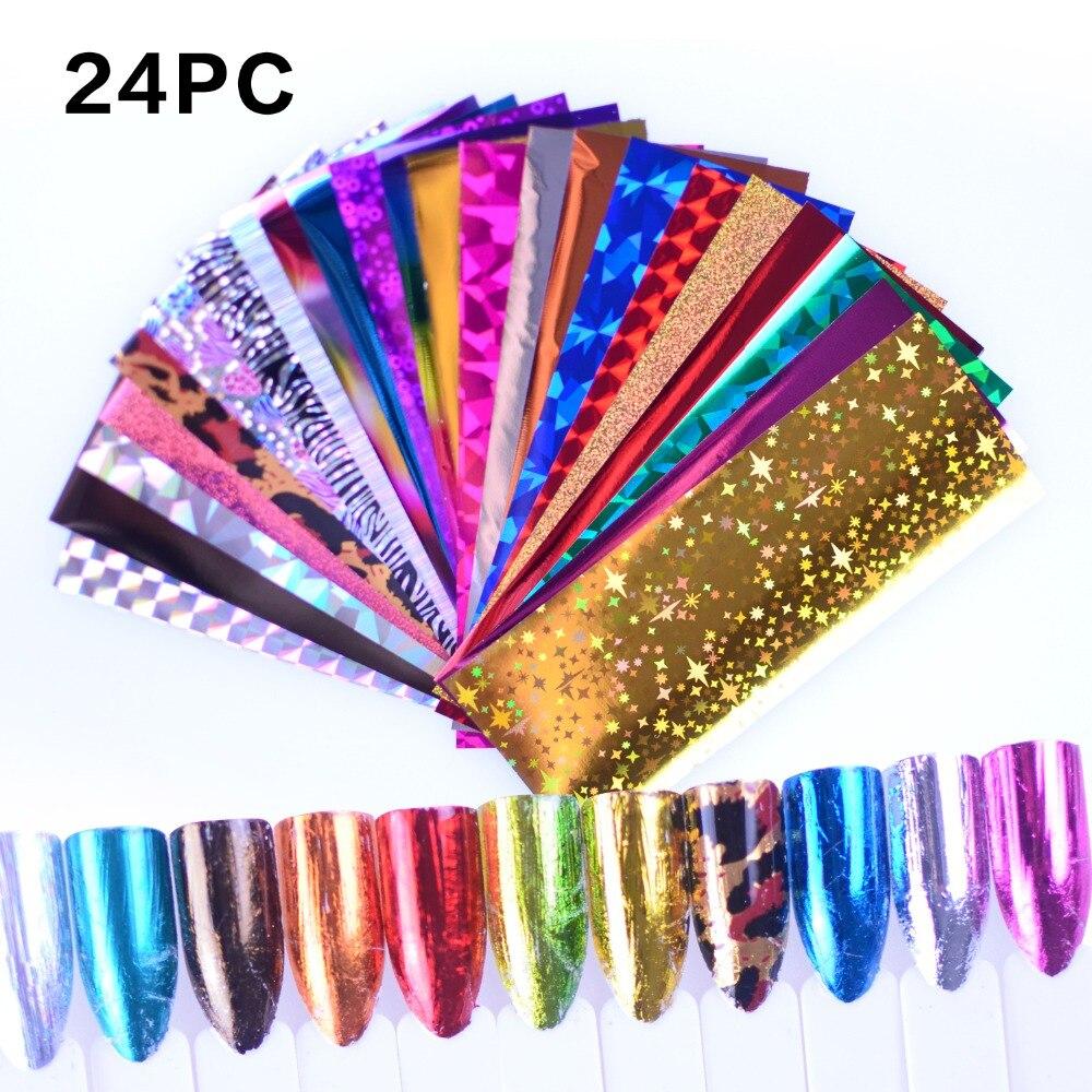 24Pcs/Set Starry Sky Laser Nail Foil Set Blue Transparent Marble Holographic Nail Art Transfer Sticker Decoration DIY