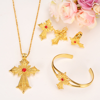 Ethiopian 24K Gold Color Cross Africa Indian Bridal Jewelry Set Trendy Women Crystal Ring Earrings Bracelet
