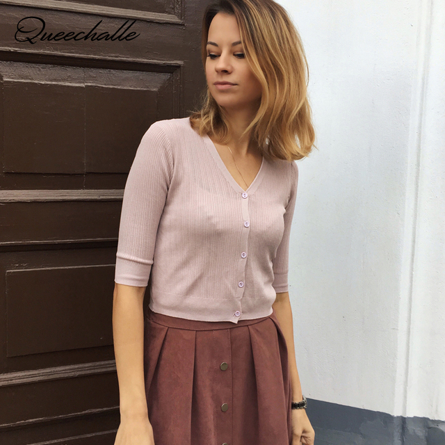 Queechalle Summer gray white black pink apricot women knitted cardigans female v neck half sleeve casual thin short coat ladies