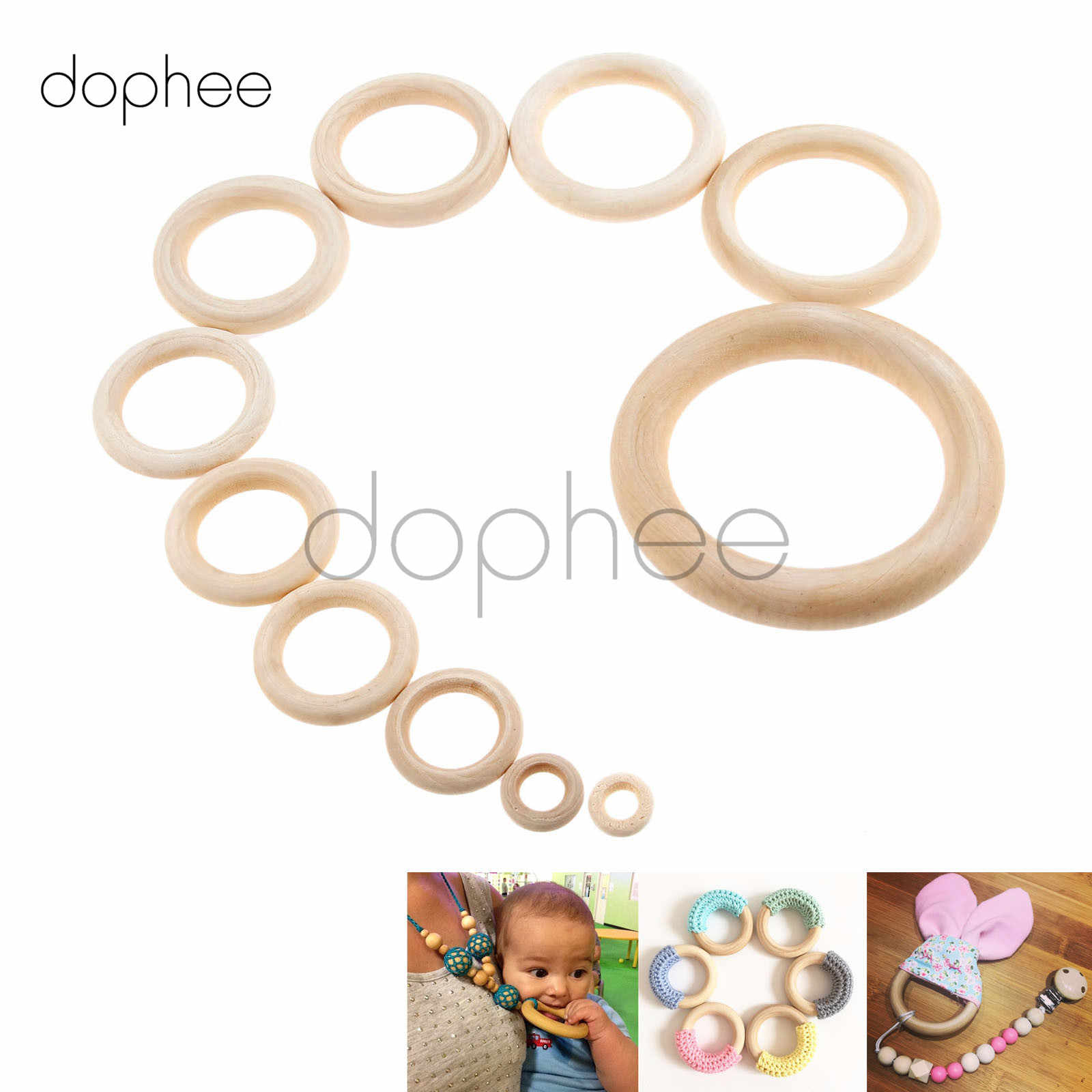 dophee 1-100pcs Wooden Rings 15mm-100mm Unfinished Hoops For Necklace Jewelry Making Teething Toys Pacifier Holders